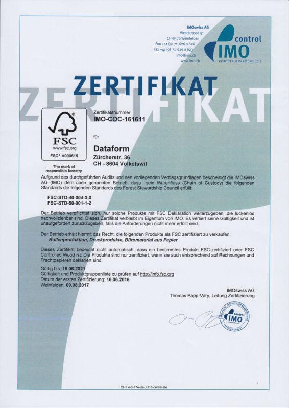 Dataform AG | Zertifikat | IMOswiss