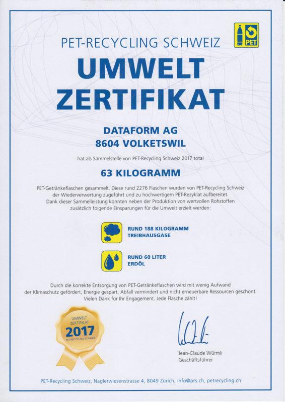 Dataform AG | Zertifikat | PET-Recycling