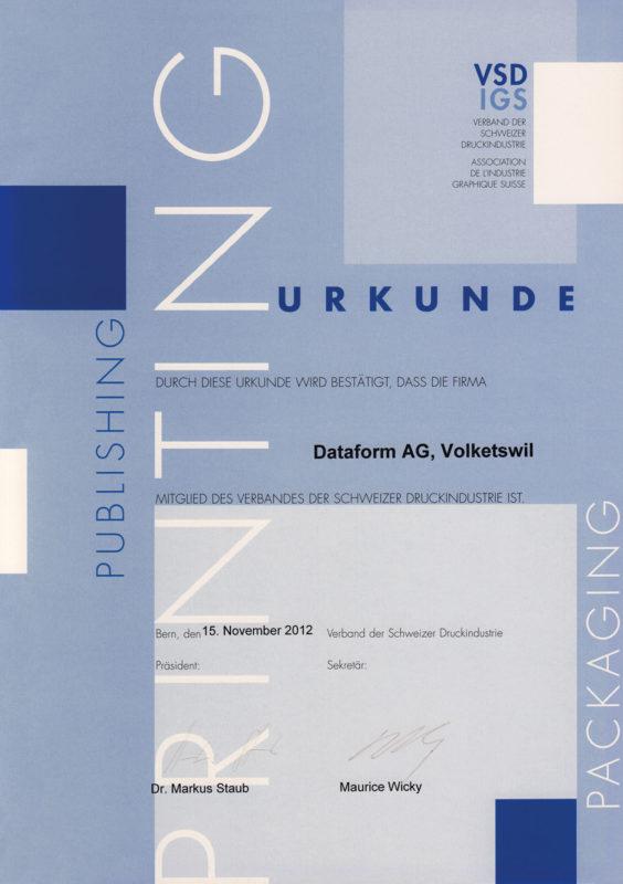 Dataform AG | Urkunde | VSD