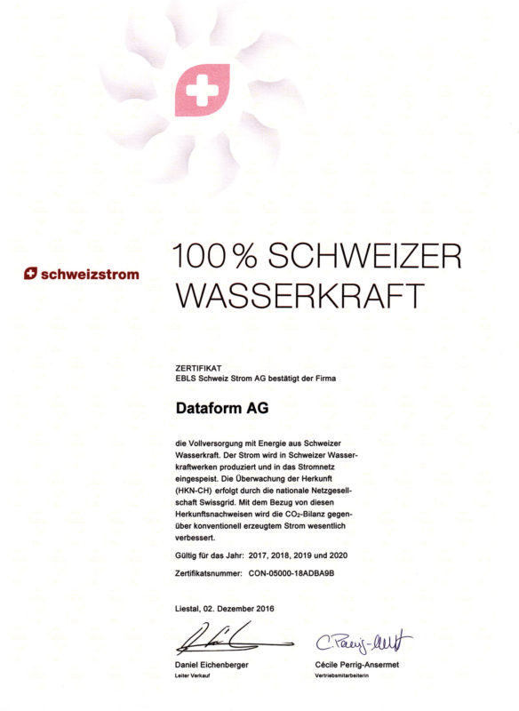 Dataform AG | Zertifikat | Wasserkraft